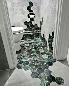 Cool tiling pattern for bathroom.