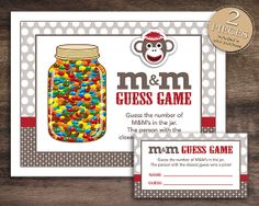 Instant Download Sock Monkey Theme M&M Guessing by Studio20Designs, $2.25