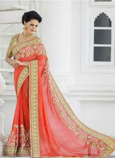 Dazlling Peach Patch Border Work Bridal sarees  http://www.angelnx.com/Sarees/Bridal-Sarees#/sort=p.date_added/order=DESC/limit=32/page=1                                                                                                                                                                                 More
