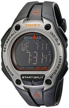 668ccd0801e1 Timex Men s T5K758 Ironman Classic 30 Oversized Black Silver-Tone Resin  Strap Watch