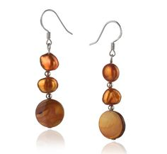 A Quality Freshwater Cultured Pearl Earring Pair in Keita Champagne