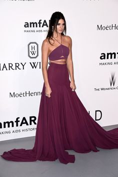 Kendall Jenner Wears Stunning Magenta Calvin Klein Gown At The Cannes AmfAR Gala | Bustle