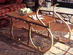 Yuletide Sleigh Coffee Table Woodworking Plan from WOOD Magazine Popular Woodworking, Woodworking Shop, Woodworking Plans, Woodworking Projects, Build A Table, Wood Magazine, Wood Stairs, Wood Worker, Woodworking Patterns