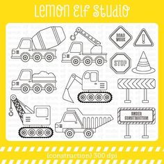 Description: ● Construction digital stamp set comes with 5 types of construction trucks, tractors with loader, tractors with cart, road signs, construction signs and traffic cone. These stamps are perfect for coloring pages, educational [...]