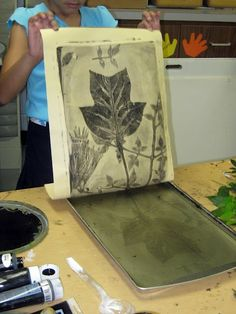 For this project, you'll need:  gelatin, not Jell-o. Most grocery stores carry a brand called Knox which sells in boxes of 16 pouches.  cookie sheets,  printmaking brayer, printing ink,  variety of leaves  paper  Full instructions by following the link