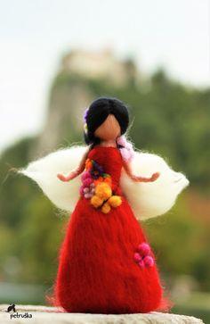 Autmn waldorf needle felted fairy wool felt by PETRUSKAfairyworld Wool Needle Felting, Felted Wool, Felt Angel, Fairy Gifts, Autumn Fairy, Felt Fairy, Wool Art, Fairy Figurines, Christmas Figurines