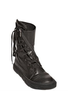 WRAP AROUND LEATHER HIGH TOP SNEAKERS