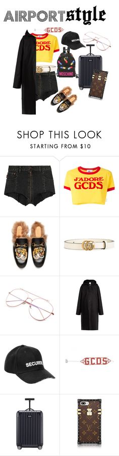 """""""AIRPORT GCDS"""" by stavhalfon2013 on Polyvore featuring Vetements, GCDS, Gucci, Rimowa and Moschino"""