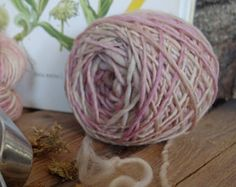 Natural dyed wool arnica, cochineal, variegated, handspun