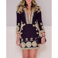 $13.98 Stylish Plunging Neck 3/4 Sleeve Printed Bodycon Dress For Women