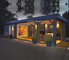 Lugarde Springfield 27 x 11 ft Summerhouse - With a large summerhouse and an even larger canopy area, the Springfield Summerhouse by Lugarde has - Large Summer House, Summer House Garden, Home And Garden, Backyard Pavilion, Backyard Sheds, Backyard Patio Designs, Parrilla Exterior, Modern Gazebo, Summer House Interiors