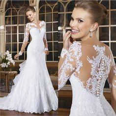2015 Romantic Sexy Mermaid Wedding Dresses Lace Appliqued Bride Dresses Button Back Long Sleeve Vestido De Noiva Court Train Plus Size Gown Online with $137.96/Piece on Hjklp88's Store
