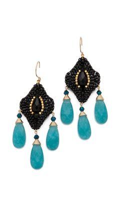 Miguel Ases Beaded Crystal & Quartz Drop Earrings