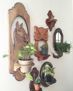 Vintage wood wall shelves, plant shelf, mirror shelf.