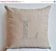 SALE Decorative pillow in linen Customized silver by AmoreBeaute