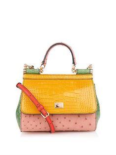 Dolce & Gabbana Sicily crocodile and ostrich cross-body bag