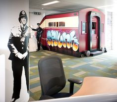 A pullman train carriage for a meeting room and Banksy-style grafitti art - no wonder Splunk's London office has been named one of the coolest offices in the UK: