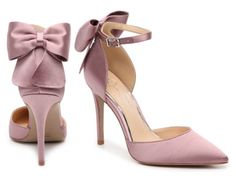Heels with a chic bow detail that will turn heads as you walk — no, strut! 32 Pairs Of Cute Heels That Are Surprisingly Comfortable Comfy Heels, Cute Heels, Lace Up Heels, Pumps Heels, Stiletto Heels, High Heels, Pink Pumps, Satin Pumps, Wedding Heels