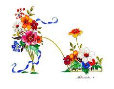 Salle à manger dans le jardin chaussure imprimé fleur 2011 - renforcée avec de la peinture aquarelle et signé. Livraison gratuite