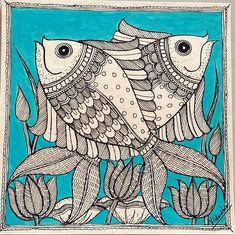 Madhubani (Mithila) Paintings by Vidushini: Handmade Collective 2109 Madhubani Paintings Peacock, Kalamkari Painting, Madhubani Art, African Art Paintings, Abstract Paintings, Oil Paintings, Gond Painting, Art Painting Gallery, Sketch Painting