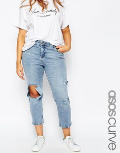 Image 1 of ASOS CURVE Thea Girlfriend Jean in Daydrift Light Wash