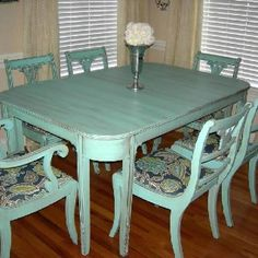 "Antique dining table set....we gave it the ""aged to perfection"" turquoise distressed love finish"