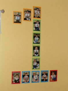 Glued monthly pictures to colored cardstock & then displayed in the shape of the #1 for first birthday party