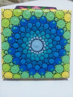 Mandala pintura original sobre lienzo, espiritual, meditacion, Acrilico punto a punto
