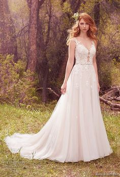 maggie sottero spring 2017 bridal sleeveless strap v neck heavily embellished bodice romantic tulle skirt a line wedding dress low back chapel train (avery) mv