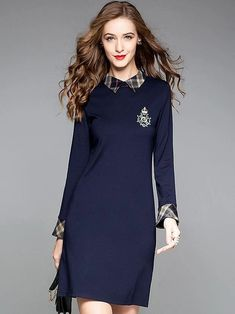 Fashion Embroidery Turn-Down Collar Long Sleeve A-Line Dress