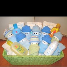Game: Place blue baby items (booties, rattle, bottle, etc) on a tray in a prominent location. Don't call attention to it. During the party, hide the tray and have guests write down the items that were on the tray.