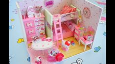 Baby Pink Doll DIY Bedroom Play Miniature Dollhouse  feat Hello Kitty ||...
