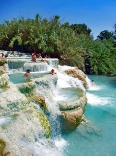 Outdoor hot springs near Saturnia in southern Tuscany, Italy
