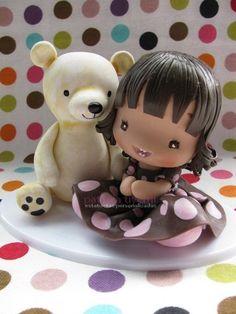 *COLD POECELAIN ~ Primeiro aninho da Júlia (ADORABLE little girl....and bear, too!)