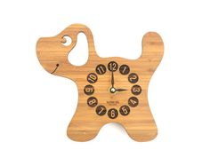 Wooden Puppy Clock, Modern Clock for Children, Baby Nursery Decor, Wood Animal Clock, Fun Clock for Kids, Eco-Friendly Decor, FREE SHIPPING on Etsy, $58.00