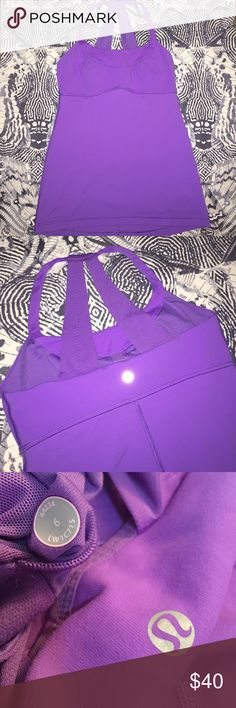 Scoop Neck Tank 6 power purple Power Purple color, with pretty ruching at the bosom. Halter Neck style for fuss free arm movement. Shelf bra inside. EUC. lululemon athletica Tops Tank Tops