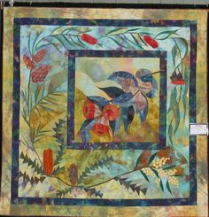 """""""Macrocarpa and Friends"""" by Susan Mathews  Best of Show 2001 -- """"This quilt comes from my love of the forms of Australian flora. Machine pieced, raw-edge applique, machine embroidery & quilting. Hand dyed and hand painted & commercial fabric"""