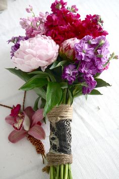 wedding bouquet, bridal bouquet, peonies, stock, hemp string, Indian embroidered cloth...
