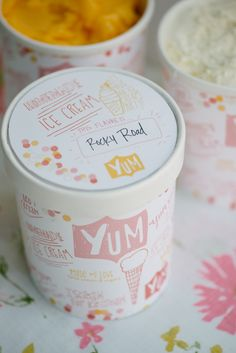 free ice cream container wraps and labels!  What fun for a old fashioned ice cream shoppe birthday, retirement, baby shower, office parties!!