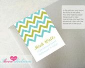 ON SALE - Personalized Square Chevron Address Labels/Bookplate. $7.00, via Etsy.