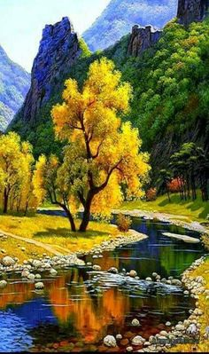 Autumn Landscape ,diy diamond painting yellow tree with river Beautiful World, Beautiful Places, Beautiful Pictures, Beautiful Scenery, Landscape Photography, Nature Photography, Amazing Photography, Photography Ideas, Yellow Tree