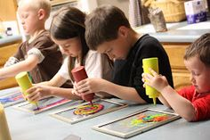 Window art with glue, food coloring and dollar store picture frames