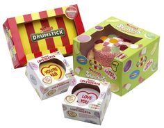 Swizzels cakes!  Drumsticks, Love Hearts and Squashies!   All cakes are available in Asda!