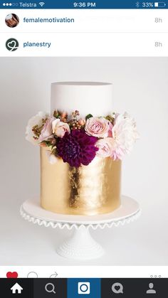 Wedding cake idea Loving the gold