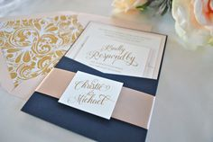 New! Simply Glamorous- Navy, Champagne and Blush Pocket Wedding Invitation-SAMPLE LISTING