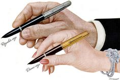 From a 1948 Parker Pen ad. #vintage #office #supplies #pens #1940s #hands