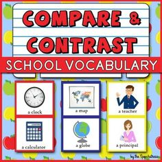 40 pairs of school-related vocabulary to compare and contrast, plus Similarities Chain Game! Repinned by SOS Inc. Resources pinterest.com/sostherapy/.