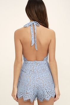 48ef460c5bca Get out and strut your stuff in the Emergent Blooms Light Blue Lace Romper!  An