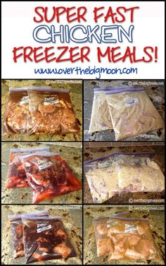 Super Fast Chicken Freezer Meals - Did not care for the Teriyaki Chicken or French Chicken, the Creamy Chicken Italian-O, Sweet BBQ Chicken, Cafe Rio Chicken, Garlic Lime Chicken and Worlds Best Chicken (Honey Dijon) were all really good. Chicken Freezer Meals, Make Ahead Freezer Meals, Freezer Cooking, Crock Pot Cooking, Chicken Recipes, Easy Meals, Bulk Cooking, Freezable Meals, Freezer To Crockpot Meals