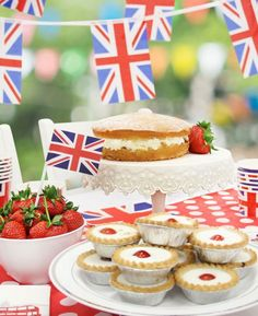 British party food ideas for a Union Jack party, the Queen's 90th birthday celebrations, a Wimbledon party or a Best of British party theme. Scones, Bakewell tarts, Victoria sponge and more.